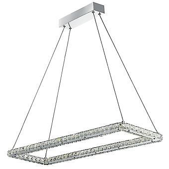 Klee-Chrom und Crystal Rechteck Frame LED Pendelleuchte - Scheinwerfer 7012CC