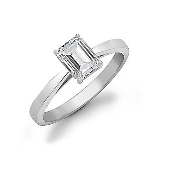 Jewelco London Ladies Solid 18ct White Gold 4 Claw Set Baguette G SI1 0.75ct Diamond Solitaire Engagement Ring