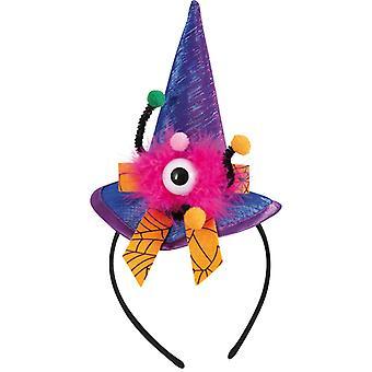 Häxa hatt pannband ögat blå lila tillbehör Halloweenn