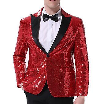 Allthemen Men's Red Sequins Dance Stage Performance Suit Jacket