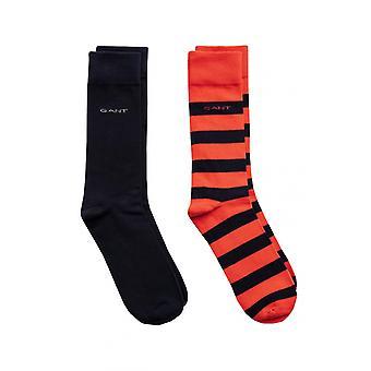 Gant D1. 2 Pack Barstripe And Solid Socks Blood Orange