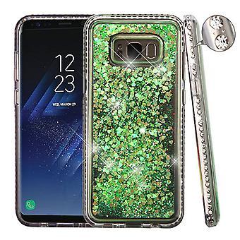 Diamante Frame (T-Clear)/Quicksand (Fluorescent Green Hearts) Glitter Hybrid Case for Galaxy S8 Plus