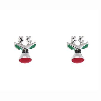 Red Enamel Nose & Silver Plated Reindeer Christmas Stud Earrings