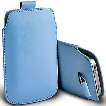 ONX3 (Baby Blue) Premium Slip In Pull Tab Sleeve Faux Leather Pouch Case Cover For Sony Xperia XA1 Plus Dual [ XXXL ]