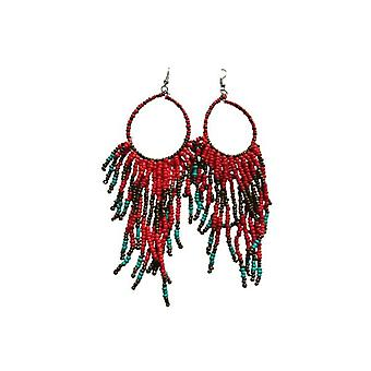 Long boho chic statement earrings Red