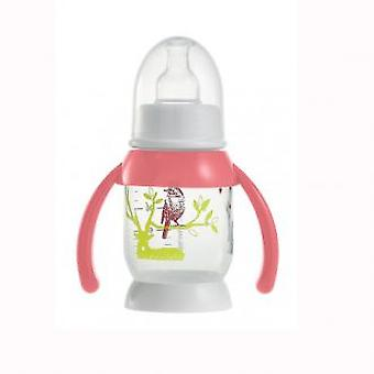 Beaba Half Moon Bunny baby bottle with pink handles 120 ml
