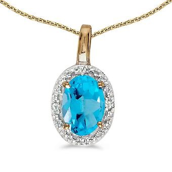 10k Yellow Gold Oval Blue Topaz And Diamond Pendant with 18