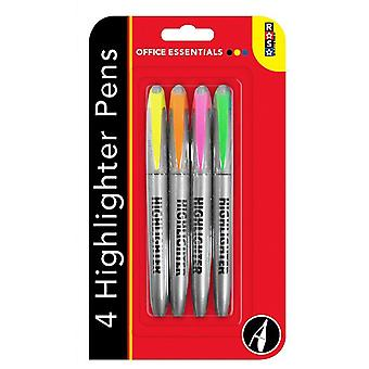 Highlighter Pens Pack of 4 in Yellow, Orange, Pink & Green