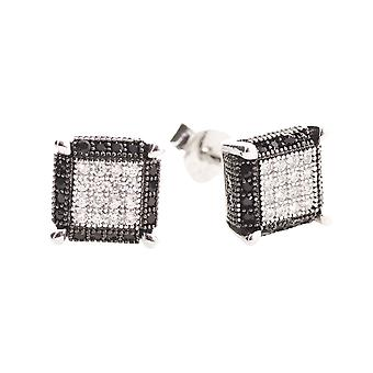 925 Silver MICRO PAVE earrings - PURE 7 mm half black