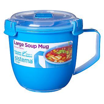 Sistema store Klip It mikrobølgeovn suppe at gå krus, 900ml, blå