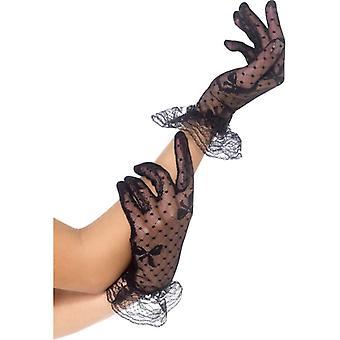 净手套手套女士黑色与循环