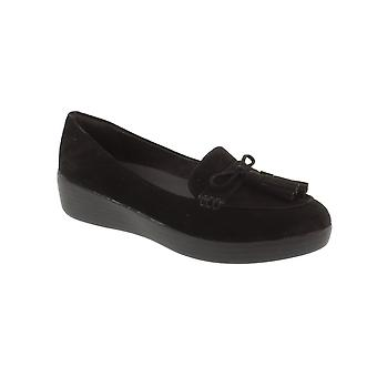 FitFlop Tassel Bow Sneakerloafer - All Black Suede Womens Pumps