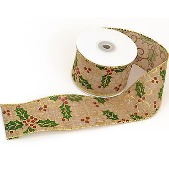 Natural Hessian Wired Ribbon Christmas Holly - 60mm x 10M