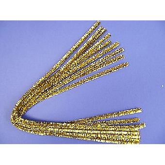 8mm Gold Tinsel Extra Long 50cm Pipe Cleaners - 10pk | Chenille Stems