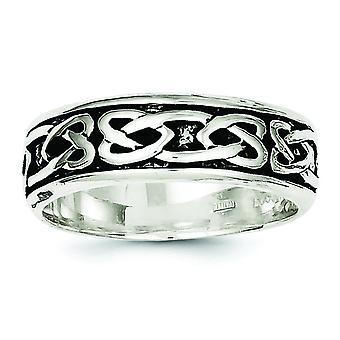 Sterling Silver Solid polerad antik finish Design Ring - Ring storlek: 9-11