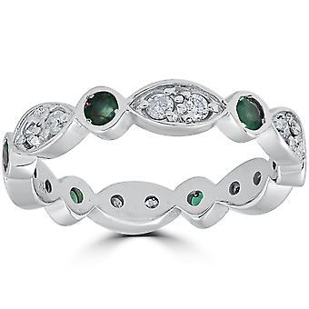 1ct diamants & Imitation vert émeraude Vintage Eternity Ring 14K or blanc