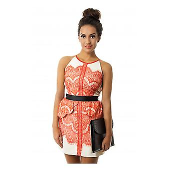 The Fashion Bible Luxe Lace Skater Dress In Orange
