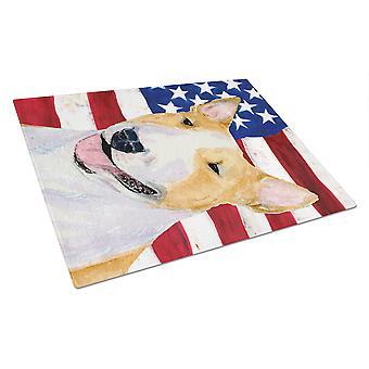 USA amerikanische Flagge mit Bullterrier Glas Schneidebrett groß