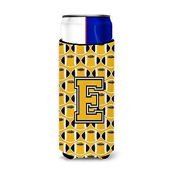 Letter E Football Black, Old Gold and White Ultra Beverage Insulators for slim c
