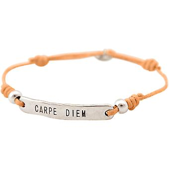 GEMSHINE ladies bracelet with engraved CARPE DIEM in silver. Size-adjustable node bracelet with salmon cord and hand charm - made in Munich / Germany - the elegant jewelry with gift box.