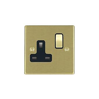 Hamilton Litestat Hartland Satin Brass 1g 13A DP Switched Socket SB/BL