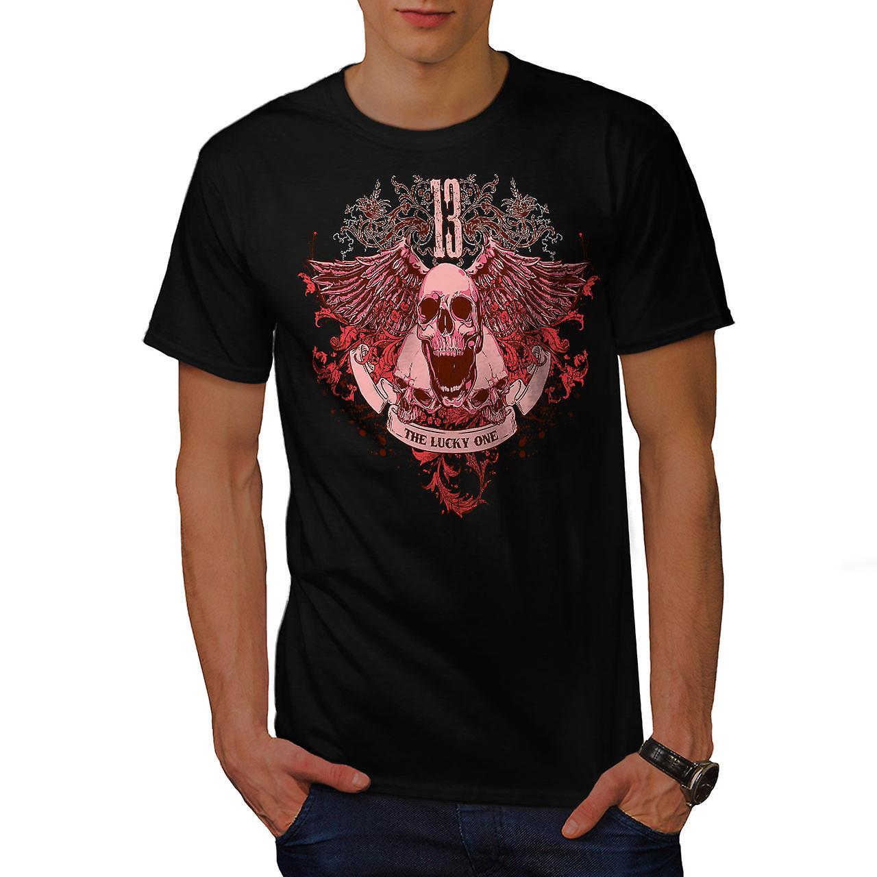 13 The Lucky One Skull Men Black T-shirt | Wellcoda
