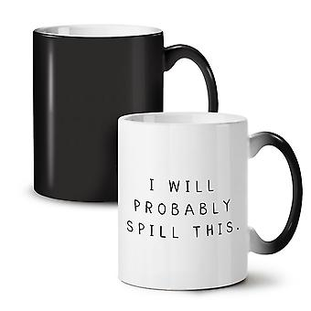 Probably Spill This NEW Black Colour Changing Tea Coffee Ceramic Mug 11 oz | Wellcoda