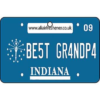 Indiana - Best Grandpa License Plate Car Air Freshener