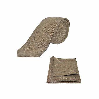 Luxury Herringbone Brown Tweed Tie & Pocket Square Set