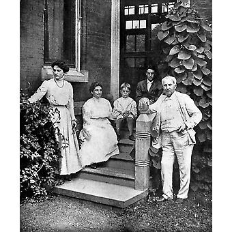 Edison And Family 1907 Namerican Inventor Thomas Edison And His Family At Their Home In West Orange New Jersey Left To Right Madeleine Mina Theodore Charles And Thomas Poster Print by Granger Collecti