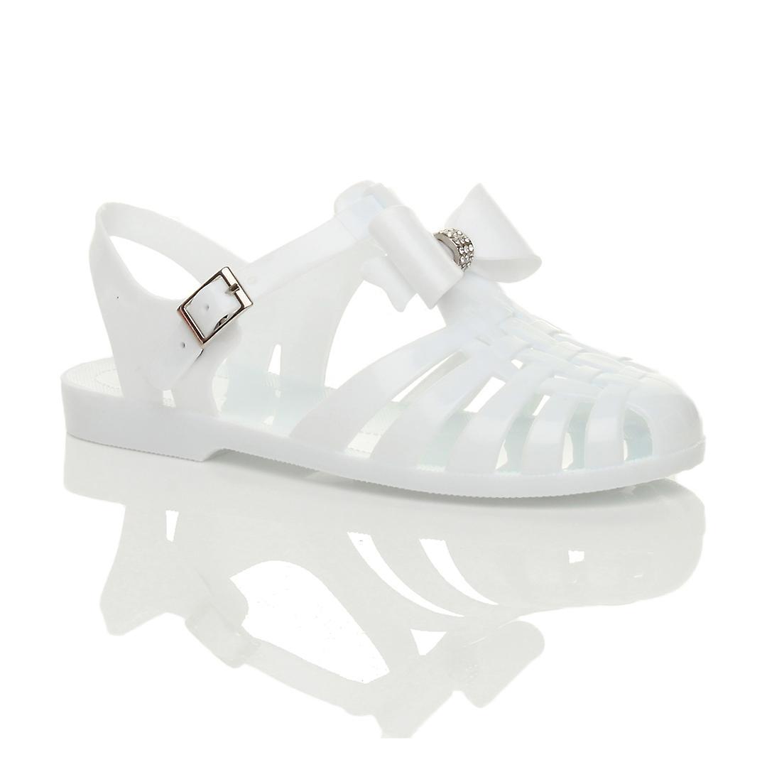 Ajvani womens retro diamante bow 90's gladiator fisherman jelly sandals