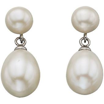 Beginnings Freshwater Pearl Double Drop Stud Earrings - White/Silver