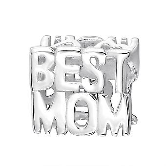 Best Mom - 925 Sterling Silver Plain Beads - W18215x