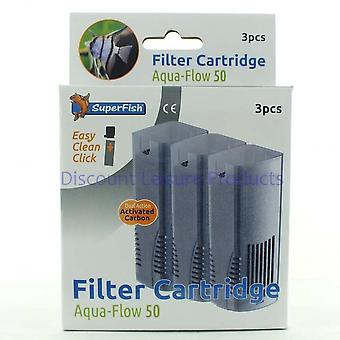 SuperFish Aqua Flow 50 Easy Click Aquarium Filter Cartridge (3Pcs)