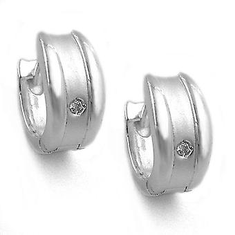 Oval Creole silver matte shiny white cubic zirconia flap hinge Silver 925