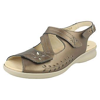 Ladies Easy B Wide Fit Slingback Sandals Sam 78326S - Pewter Leather - UK Size 9 V - EU Size 42.5 - US Size 11