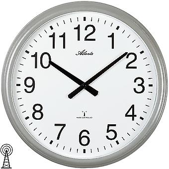 Atlanta 4449 wall clock radio radio controlled wall clock analog silver round plain