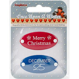 Scrapberry's Once Upon A Winter Metal Embellishments 2/Pkg-#3 Word Plates