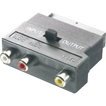 SpeaKa Professional RCA / SCART Adapter [3x RCA socket (phono) - 1x SCART plug] Black incl. changeover switch