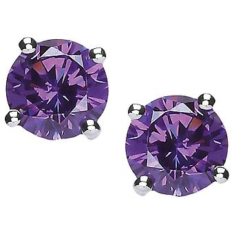 Cavendish French Cubic Zirconia Stud Earrings - Silver/Purple