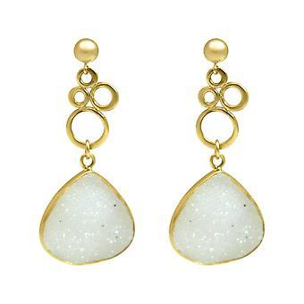 Gemshine - Damen - Ohrringe - BUBBLES - 925 Silber - Vergoldet –- DRUZY - Weiß - Quarz - 4,5 cm