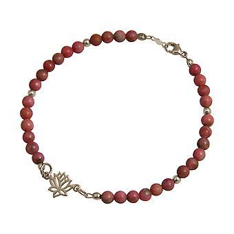 Gemshine - Damen - Armband - 925 Silber - Lotus Blume - Edelstein - Rosa - YOGA
