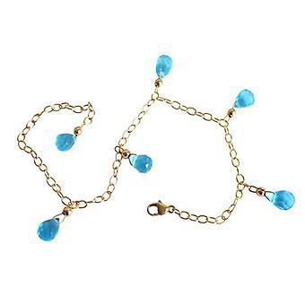 Blautopaz blå topas blå Topas armband guld pläterad