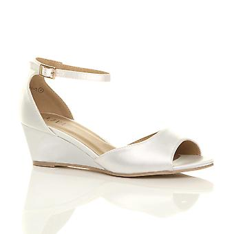 2bc07be66a80 Ajvani womens low mid wedge heel ankle strap smart casual wedding bridal  bridesmaid evening sandals