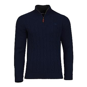 Cable Knit 1/4 Zip - Navy