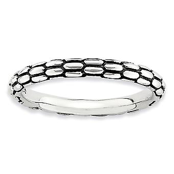 2.5mm Sterling Silver Polished Patterned Antique finish Stackable Expressions Antiqued Ring - Ring Size: 5 to 10