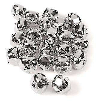 24 Silver 35mm Jumbo Jingle Bells for Crafts | Craft Bells