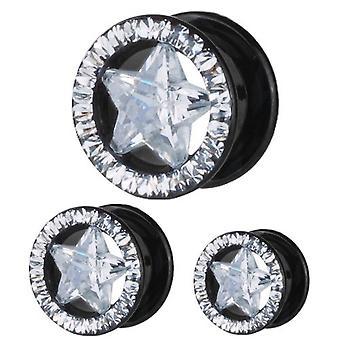 Ohr Fleisch schwarz Tunnel Piercing Stern, Multi Kristall klaren Steinen | 8 - 16 mm