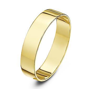 Anillo de bodas anillos de boda estrella 18 quilates amarillo oro luz plana 5mm