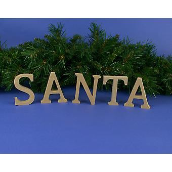 Medium 80mm Wooden MDF 'Santa' Letters to Decorate for Christmas